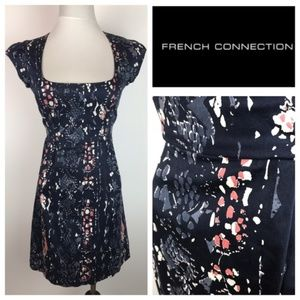 French Connection Navy Pink Cap Sleeve Dress